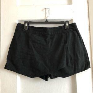 black layered asymmetrical mini skort